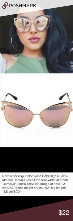 ❗️New❗Cat Eye ️Rose Gold Pink Mirror Sunnies New in package-❗️see last pic for item details❗️ Boutique Accessories Sunglasses