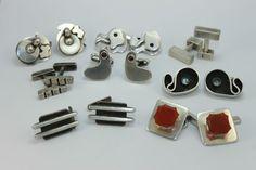 A Collection of Modernist Sterling Silver Cufflinks by NYC Artist Sam Kramer #SamKramer