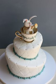 Alice in Wonderland Rabbit in Tea Cup Cake Topper