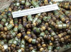 Matte 3/0 6x5mm Opaque Striped Picasso Seed by beadsandbabble, $4.99