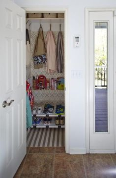 Closet conversion: No separate mudroom in your home? Convert a coat closet into a space that functions like a mudroom. Install wallpaper and a rug to make a closet feel like an extra room. Hang baskets on the wall to collect sundry items. Store coats with hooks instead of hangers to maximize space.