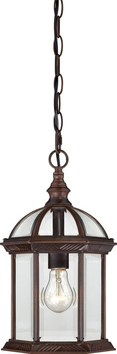 """14"""" Outdoor Hanging Light Fixture in Rustic Bronze Finish"""