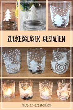 [Favola bastelt] Zuckergläser Sugar glasses - create beautiful tealights from a glass, white glue an Diy Niños Manualidades, Diy Crafts To Do, Decor Crafts, Easy Crafts, Diy Gifts, Tea Lights, Christmas Diy, Pots, Easy Diy