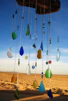 Ironwood Multicolored Beach Glass Chimes. Maybe I can make this with my beach glass!