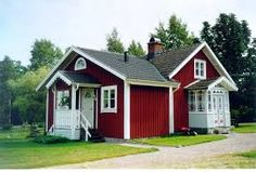 This is a delightfully confused cottage or 'stuga' in Sweden, looks like two were joined together