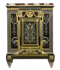 Joseph-Émmanuel Zwiener fl. circa 1875-1900 A fine gilt bronze, engraved pewter and brass, and faux tortoiseshell Boulle style marquetry mounted ebony veneered meuble à hauteur d'appui France, circa 1880.