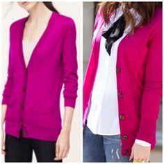 NWT Loft Relaxed Fit Cardigan New listing! Additional photos coming soon. Beautiful relaxed fit cardigan in a great fuchsia color! Size large. New with tags! LOFT Sweaters Cardigans