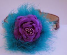 Purple and blue floral dog collar purple leather by LADogStore, $26.99