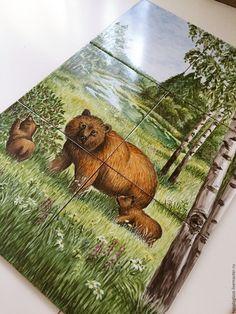 Купить Роспись плитки Роспись изразцов Панно Медведица с медвежатами - Роспись плитки, роспись керамики