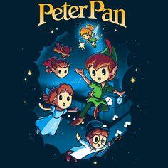 T-shirt Disney Peter Pan Tee-shirt tortue Disney Disney Kunst, Arte Disney, Disney Fan Art, Disney Love, Disney Magic, Disney Pixar, Chibi Disney, Disney Stuff, Peter Pan Dibujo