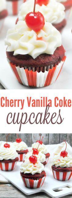 Cherry Vanilla Coke Cupcakes Recipe - These taste AMAZING! My new favorite cupcake recipe! Coke Cupcakes, Yummy Cupcakes, Carnival Cupcakes, Flavored Cupcakes, Amazing Cupcakes, Carnival Food, Just Desserts, Delicious Desserts, Dessert Recipes