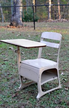 Vintage School Desk Child Size Beige Retro School by PanchosPorch
