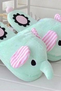 Cute Elephant Winter Indoor Slippers