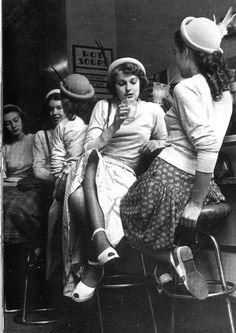 Girls in a milk-bar in England , 1954. (Original Bar Flies :) lol)