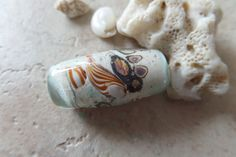 stoursglass Ocean Inspired Bicone Lampwork Bead Real Sand by stoursglass on Etsy