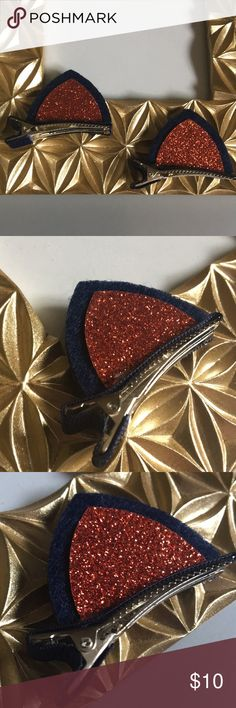 3/$15 NEW CUTE cat ear hair clips navy blue red CUTE cat ear alligator clips for little girls.  Appropriate for dress wear or any other day of the year. Have fun making a cute statement with theses color sparkle accessories.  Brand new.  Sealed in plastic  #JUSTSUGARz Accessories Hair Accessories
