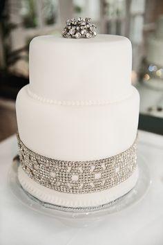 All white wedding cake with rhinestone bling