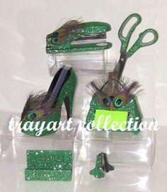 Beau 6pc Green Peacock Set, Stapler, Scissors, High Heel Tape Dispenser, Purse  Pop