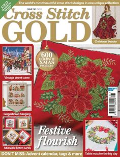 Get your digital copy of Cross Stitch Gold Magazine - Issue 141 issue on Magzter and enjoy reading it on iPad, iPhone, Android devices and the web. Xmas Cross Stitch, Cross Stitch Books, Just Cross Stitch, Cross Stitch Kits, Cross Stitch Designs, Cross Stitching, Cross Stitch Patterns, Christmas Books, Christmas Crafts