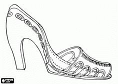 woman shoe high heeled sandal coloring page