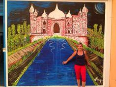 pintura mural sobre cristal. centro comercial el Reston ,Valdemoro