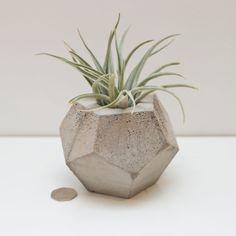 Medium Geometric concrete plant pot, by Roost