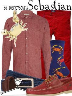 Attention guys!  Party under the sea in this awesome Sebastian outfit. Disney Fashion   Disney Fashion Outfits   Disney Outfits   Disney Outfits Ideas   Disneybound Outfits    Little Mermaid Outfit  
