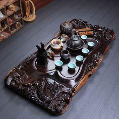 full handmade carved dragon tea tray ebony wood tea table complete tea set pot Dragon Tea, Tea Tray, Blended Coffee, Tea Ceremony, Tea Light Candles, Tea Mugs, Drinking Tea, Tea Set, Teapots