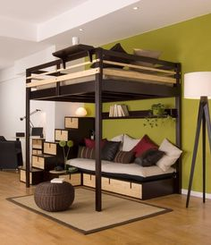 Loft Bed Design for The Modern Adult : Loft Bed Contemporary Bedroom Design For Small Space By Espace Loggia Cool Loft Beds, Modern Bunk Beds, Diy Bed Loft, Loft Bed Frame, Small Rooms, Small Spaces, Small Apartments, Studio Apartments, Kids Rooms