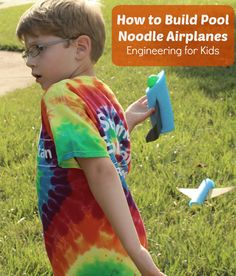 STEM Engineering for Kids How to Build Pool Noodle Airplanes- Pool Noodle Fuselages,assorted wings, and nose cones  were used to see what plane would fly the farthest.