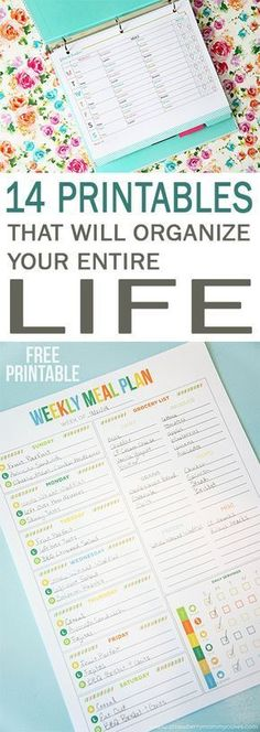 Free Printables, - Meal planner, Daily log/planner, Week at a glance