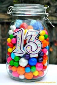 Birthday Centerpiece - LOVE this idea!  You could use it as a guess how much candy is the in jar game too!  http://www.stockpilingmoms.com/2012/08/pinterest-daily-pin-birthday-centerpiece/