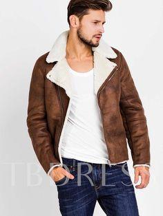 Lapel Faux Shearling Zipper Slim Men s Biker Jacket with Side Pockets dc5b03205620