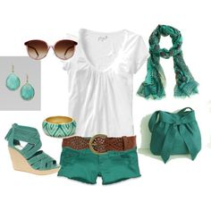 Teal, created by sapple324 on Polyvore ....  a little longer in the shorts