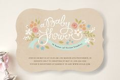 Hand lettered and decked out in dandy floral details, these invitations are perfect for a garden themed shower.