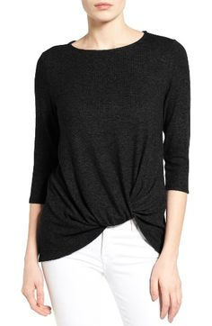 Free shipping and returns on Gibson Twist Front Cozy Fleece Pullover (Regular & Petite) at Nordstrom.com. A twisted detail at the front hem gives a little tucked-in slouch to a relaxed sweater cut from a soft, heathered fleece-knit fabric.