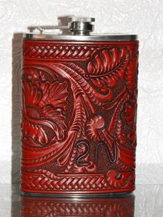 Carved Leather Flask by Clair Kehrberg Fine Leather Art