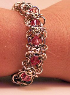 Chainmaille Bracelet With Pink Swarovski Crystals Intricately Made For A Woman It Can Be Dressed Up Jump Ring Jewelry, Metal Jewelry, Wire Wrapped Jewelry, Beaded Jewelry, Chainmaille Bracelet, Copper Bracelet, Pimp, Armband, Hopea
