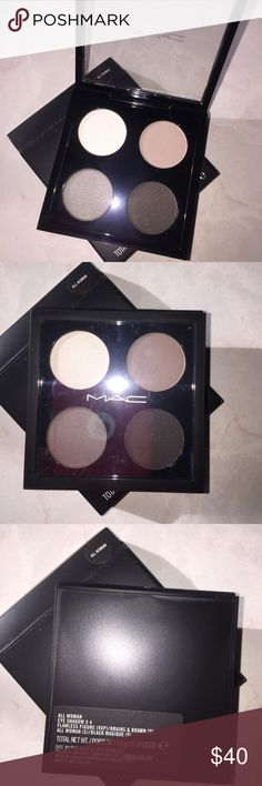 Mac All Woman Eyeshadow Quad Discontinued, brand new in the box. Mac Quad in All Woman.  Flawless Figure, shimmer white.  Brains & Brawn, mid-tone taupe.  All Woman, greenish dark grey.  Black Magique, deep black. Offers welcomed, but keep in mind Posh takes fees from my sales. No trades. No holds. If you can't give me a simple thank you when received, don't purchase from me! MAC Cosmetics Makeup Eyeshadow