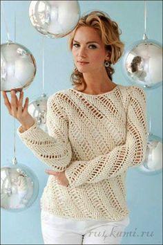 Au crochet un pull avec des diagonales : je vous propose ce très joli pull, qui est parfait pour les premiers beaux jours de ce printemps qui arrivent , vous pouvez le porter avec un chemisier ou sans