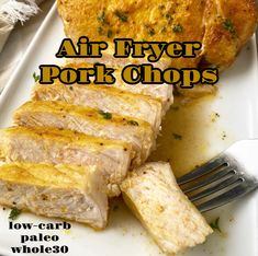 Making pork chops in the air fryer is very easy. Using a homemade seasoning, these juicy pork chops cook in under 15 minutes! What Are Pork Chops? Pork chops are a versatile cut of pork from the loin of the pig. Continue reading Air Fryer Pork Chops (Low-Carb, Paleo, Whole30) at Fit Slow Cooker Queen. Bacon Wrapped Pork Tenderloin, Slow Cooker Pork Tenderloin, Air Fryer Pork Chops, Air Fryer Dinner Recipes, Air Fryer Recipes, Pork Recipes, Low Carb Recipes, Easy Recipes, Queens Food
