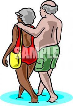 Elderly interracial couple at the beach (clip art)