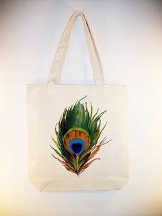Vintage Peacock Feather on 15x15 Canvas Tote with by Whimsybags, $12.00