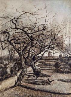 Vincent van Gogh- Winter Garden.1884 Drawing. Place of Creation:Nuenen, Netherlands