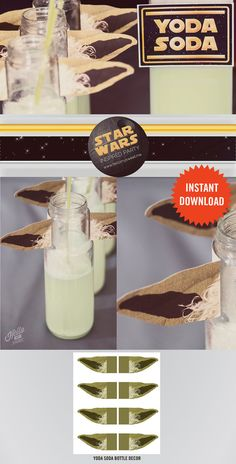 Yoda Soda Bottle Ears - INSTANT DOWNLOAD - Star Wars Classic - Party Decoration