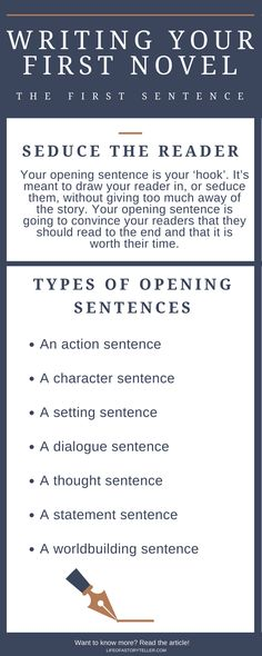 Writing your first sentence Writing your first novel First sentence tips Writing tips for your first novel Writer Tips, Book Writing Tips, Writing Process, Writing Resources, Writing Help, Writing Skills, Writing Ideas, Novel Tips, Creative Writing Prompts