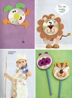 ideas con cd y goma eva Kids Crafts, Old Cd Crafts, Animal Crafts For Kids, Animal Projects, Craft Activities For Kids, Diy Arts And Crafts, Diy For Kids, Paper Crafts, Recycled Cds