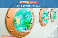 DIY Submarine Art - Update your kid's room with these super cool submarine inspired lookout windows! Crafted by @tmemme28 on Home and Family.