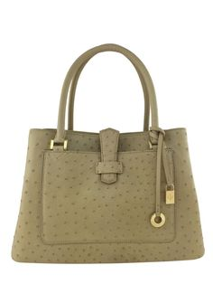 Loro Piana Ostrich Bellevue Bag featuring a beige ostrich skin exterior and signature engraved logo charms. Includes two exterior flat pockets, two interior open compartments, one center dividing zip