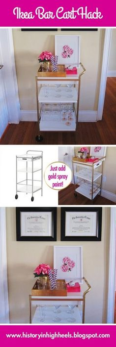 Brilliant DIY Gold Spray Paint Projects To Turn Trash Into Luxury - The ART in LIFE Cheap Bar Cart, Diy Bar Cart, Bar Cart Decor, Bar Carts, Ux Design, Home Design, Home Bar Furniture, Apartment Furniture, Ikea Furniture